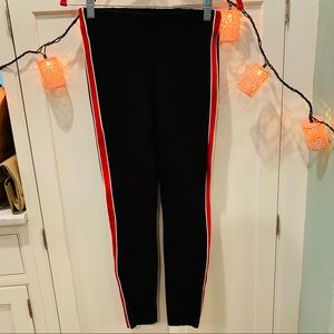 NWOT Zara Leggings With Bold Red Stripe